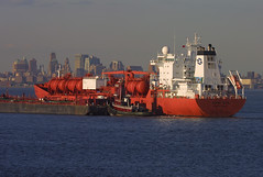BOW SUN in New York, USA. August, 2006 (Tom Turner - SeaTeamImages / AirTeamImages) Tags: nyc red sun newyork port bay harbor boat marine ship harbour transport pony maritime bow transportation tugboat tug bigapple barge tanker chemical tomturner odfjell seachem odfjellseachem bowsun