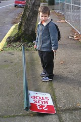 They shouldn't have knocked it over (Messed Up Mama) Tags: sign walktoschool knockedover