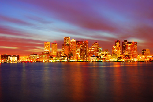 colorfull skyline picture of Boston