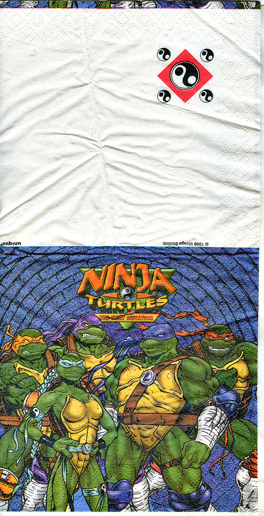 """Ninja Turtles: The Next Mutation"" Paper Party Napkin by Unique..// style guide art by Mike Dooney (( 1998 ))"