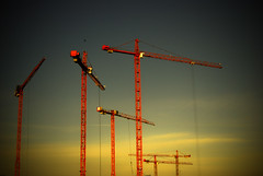 Forest (Desmond Kavanagh) Tags: blue ireland sunset red sky dublin yellow clouds construction crane progress beautyis