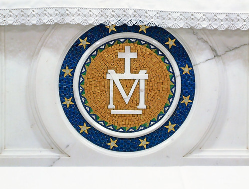 Saint Mary of the Barrens Roman Catholic Church, in Perryville, Missouri, USA - Shrine of the Miraculous Medal - Mary's monogram