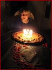 Happiness is...... (tryingtolearn USA) Tags: birthday boy childhood happy candles grandson candlelight chocolatechipcookiecake candleglow nineyearsold ibakedit thatsclassy theperfectphotographer singingtoluke