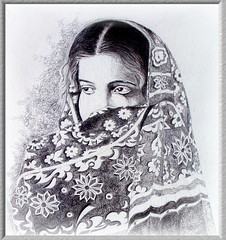 Portrait of a Lady. (Commoner28th) Tags: old flowers pakistan portrait woman art texture girl fashion lady last pen ink work ball painting point design blackwhite costume eyes 2000 shadows veil dress drawing patterns muslim fine arts style shy textile shawl hyderabad karachi ahmed sindh csa islamabad bashful agha quetta embroidry nawabshah waseem commoner sukkur hijjab goldstaraward kommoner commoner28th