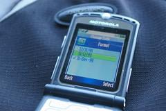 Motorola Razr V3 date-time format screen