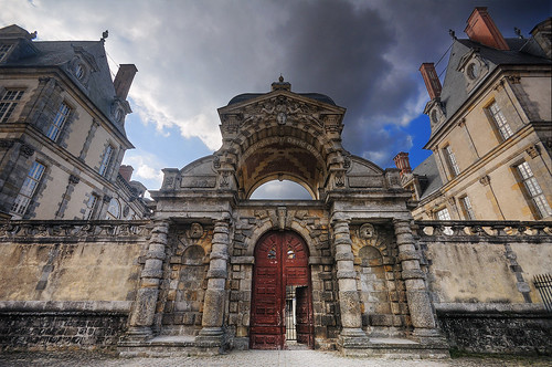 The Door to Fontainebleau Castle HDR