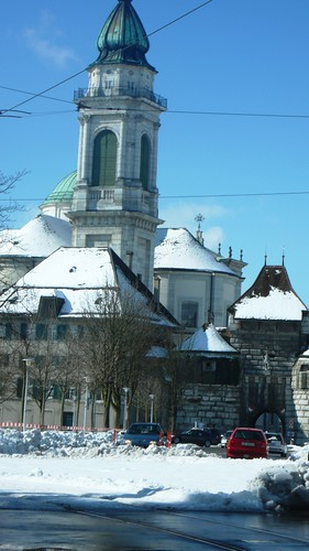 St. Urs Cathedral in Solothurn in snow