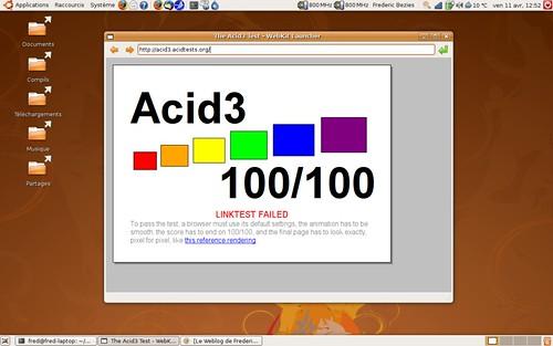 Webkit r31387 sous Ubuntu Hardy Heron AMD64.