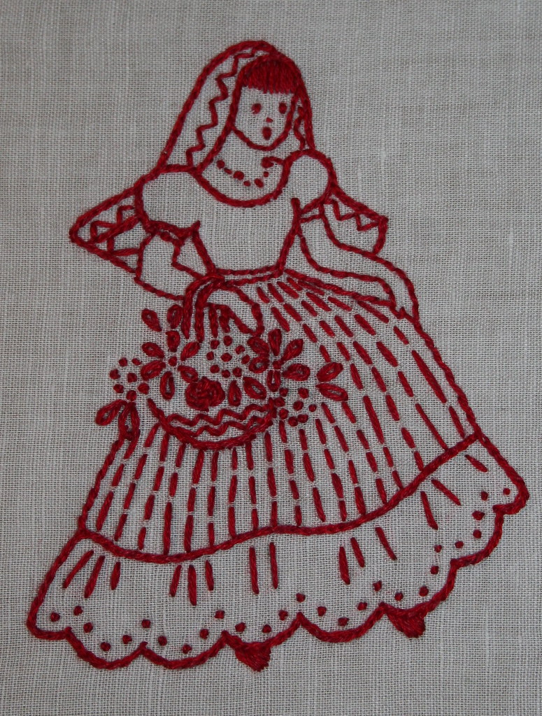 redwork embroidery mexicana, senorita with flowers, mom's gift
