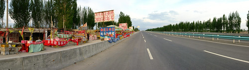 Typical express-way-side stall in Xinjiang Province, China