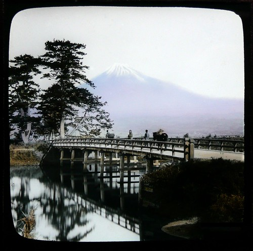 MT. FUJI FROM YOSHIWARA -- The Famed Peak in Soft Pastel Rising Over the Rustic Kawai Bridge Along the Tokaido