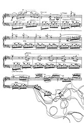 allegro con brio (brescia, italy) (bloodybee) Tags: 365project sheetmusic music chopin pentagram notes lines thread humor fun bw white black stilllife pages sheet paper play