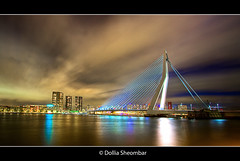 Erasmus Bridge (2) - Rotterdam (DolliaSH) Tags: city longexposure bridge light urban haven holland color water colors architecture night reflections river puente photography lights noche photo rotterdam topf50 europe foto nightshot photos nacht harbour tripod nederland thenetherlands wideangle illuminated ponte explore most le pont brug maas topf150 brcke topf100 ultrawide nuit kopvanzuid 1022mm notte hdr stad 1022 erasmusbrug 1000views noch zuidholland brucke erasmusbridge southholland 3000views tonemapping nachtopname canon50d dollia dollias sheombar caononeos50d