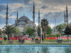 Everything Blue but the Mosque (AJ Brustein) Tags: world park old city blue trees sky heritage water fountain architecture clouds canon turkey aj to
