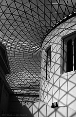 UPod (Alex Guerra) Tags: uk roof light blackandwhite bw london glass lines architecture shadows structure ceiling britishmuseum tamron18250