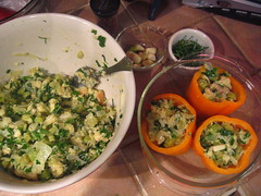stuffing and peppers