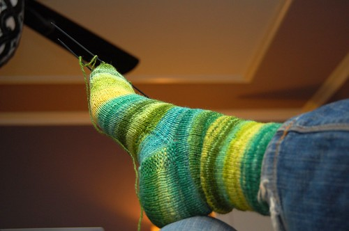 Happy Handspun Sock, almost done