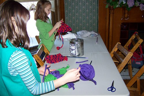 Girl Scouts knitting