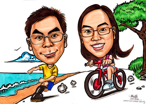 Caricatures couple roller blading cycling A4