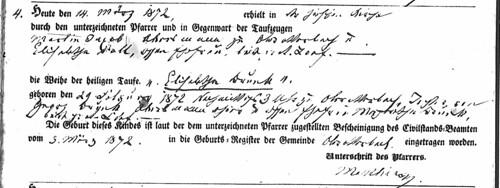 Elisabetha Brunck baptism record