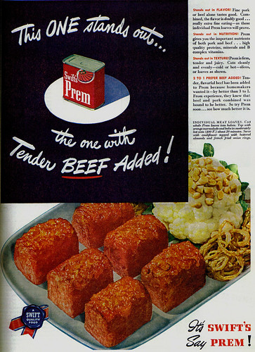 Vintage Ad #494: Prem - The Canned Meat with Tender Beef Added!