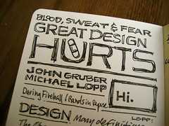 SXSWi 2008 Sketchnotes: Great Design Hurts