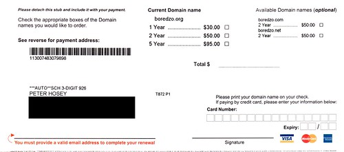 "The lowest third of a letter from ""Domain Registry of America"", looking very much like a bill."
