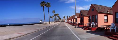 Beach cribs in Oceanside, California, USA