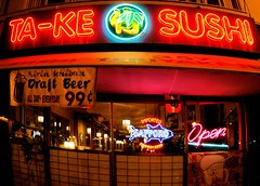 Takie The Sushi (cwgoodroe) Tags: california signs sushi oakland bars theater neon pentax grand lakeshore bayarea grandlake nightlife avenue ist alleybar ocvbphoto09