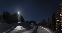 Moon, walk with me (MilaMai) Tags: moon moonlight moonrise winter snow road cold finland suomi landscape panorama astrophotography stars nightsky forest moonlit joensuu shadows light milamai photography rays trees nature moonbeams darkness night