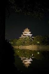 Hiroshima-castle08 (::darren::) Tags: wood city light west castle japan skyline night clouds reflections river hiroshima lit rebuilt honshu