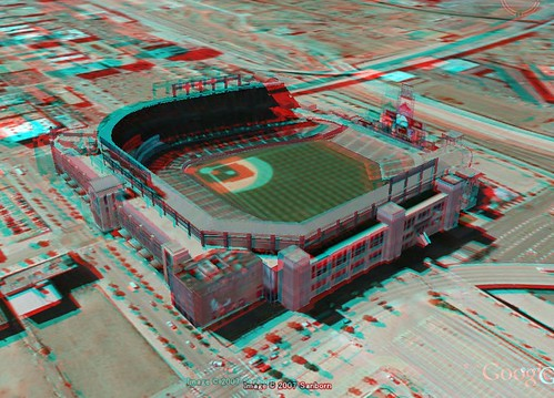 3D anaglyph Google Earth Coors Field-Camelot model