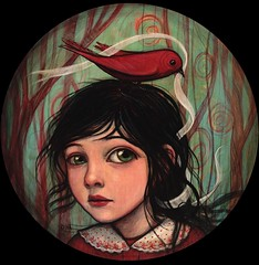 White Ribbon (verpabunny) Tags: girl forest painting circle acrylic redbird whiteribbon kellyvivanco