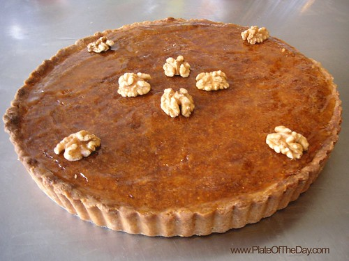 carmel walnut almond cream tart, holiday tart, holiday desserts, tart recipe, walnut tart recipe, frangipane, francois payard