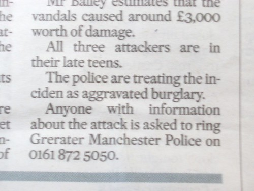 Newspaper Typo - Grerater Manchester Police