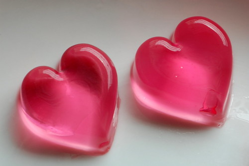 valentine's day heart shape pink jello