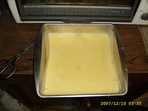 Secret egg sweet recipe batter in baking pan