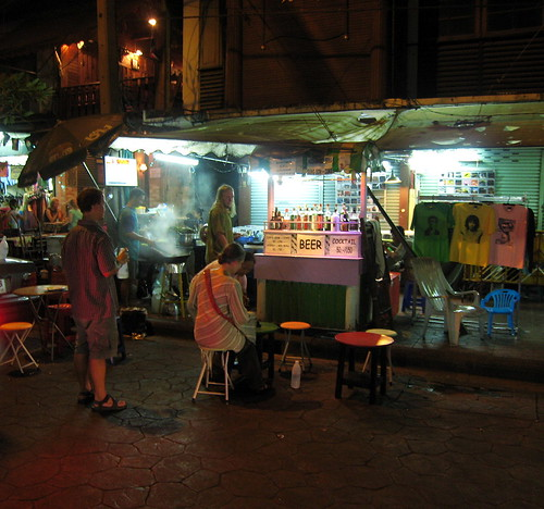 Choosing a street stall off Soi Rambuttri