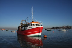 Red n Blue (Jim.....) Tags: uk red misty fishingboat essex merseaisland buoyant 40d canon40d 40deurope
