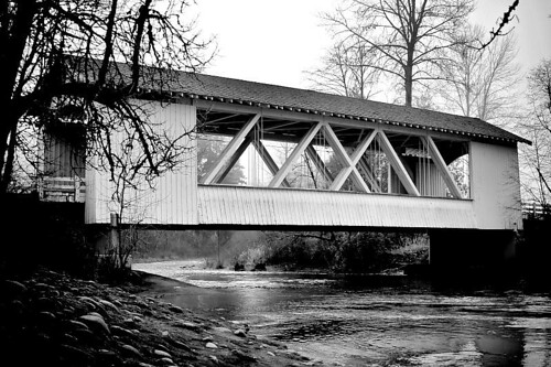 Larwood Bridge In B&W - a covered bridge outside of Scio Oregon in Linn County