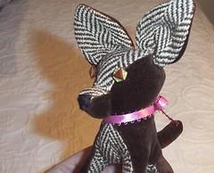 Chihuahua - Vintage Velvet & Silk Tweed (leafpeople) Tags: dog brown chihuahua animal vintage puppy stuffed handmade chocolate valentine velvet plush softie softee