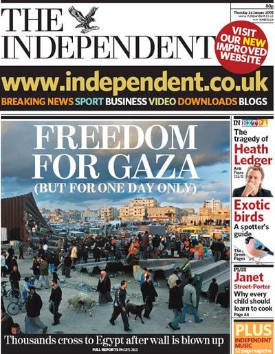Portada de The Independent: Libertad Para Gaza