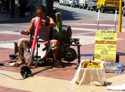 Busker in the streets of Wellington, New Zealand