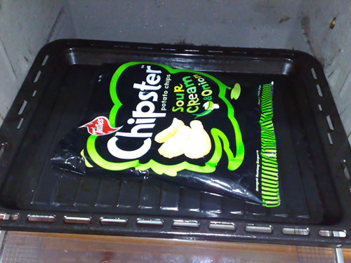 Chipster packet in oven.