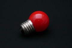 Little red lightbulb OFF (CoCreatr) Tags: light red glass lamp lightbulb electric bulb creative off product incandescent edison lightbox onblack homestudio nowires