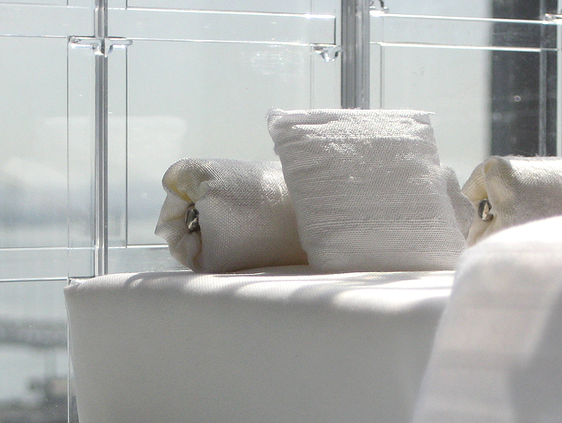 Detail of Miniarc Bed No. 3: All White Luxury