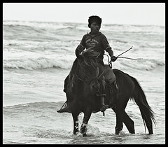 Young man & the Sea - II [..Cox's Bazar, Bangladesh..] (Catch the dream) Tags: sea bw horse children blackwhite waves mood bongo rider bengal bangladesh dauntless bangla ferocious bengali bangladeshi bangali coxsbazar boldness catchthedream gettyimagesbangladeshq2