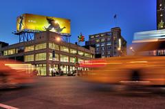 Corner of 14th Street and 9th Avenue (Herr Specht) Tags: newyorkcity usa manhattan bluehour meatpackingdistrict blauestunde newyorktaxi yellowcabs pentaxk10d