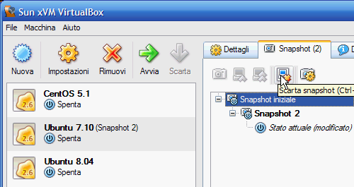 Fig 20 - VirtualBox snapshot - scarta snapshot