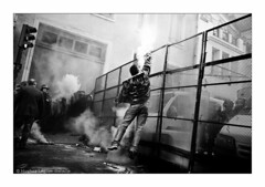 (Hughes Léglise-Bataille) Tags: blackandwhite bw paris france topf25 jump fishing fishermen noiretblanc protest police demonstration 2008 peche fuel manif manifestation marins barnier pecheurs ministere gasoil